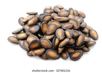 Dry Black Melon Seeds on white background