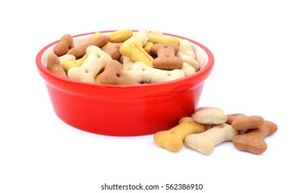 Dry bone-shaped dog food in a red bowl, some biscuits spilled beside, isolated on a white background