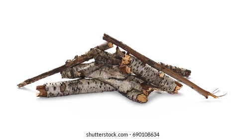 dry branches pile for fire isolated on white background