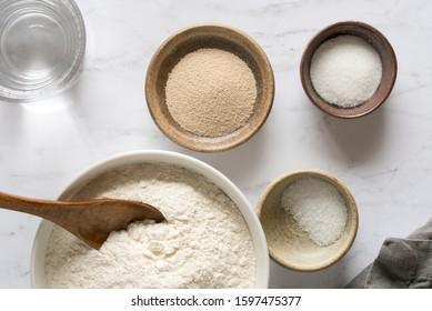 Dry Bread Ingredients in Bowls