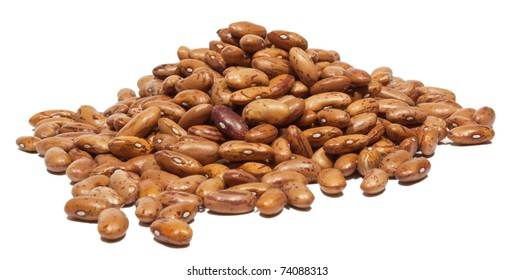 Dry brown beans on white background.