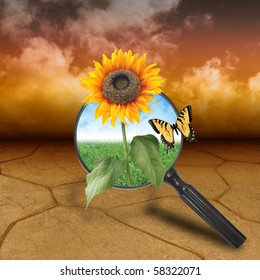A dry brown desert landscape with clouds in the background. There is a magnifying glass with a sunflower growing out of it. There is a nature background of clouds and grass behind it.