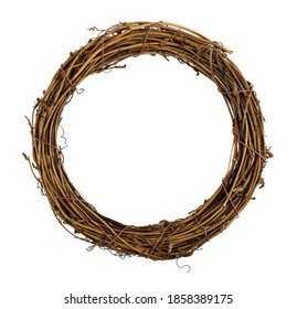 Dry brown empty rattan wreath isolated on white background