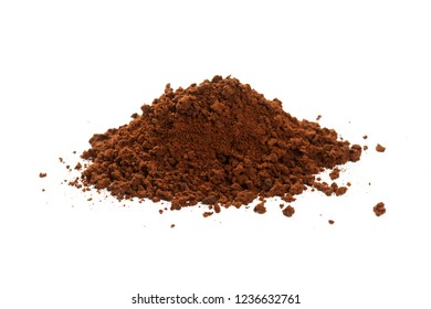 Dry brown instant coffee powder, close up.