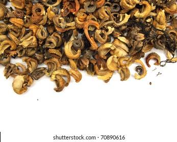 dry calendula seed on a white background