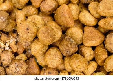 Dry Cat food macro top view.