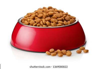 Dry cat food in a red bowl, isolated on white background