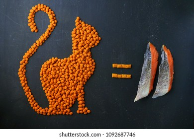 Dry cat food in the shape of a cat sitting facing equals sign and raw salmon on dark background.