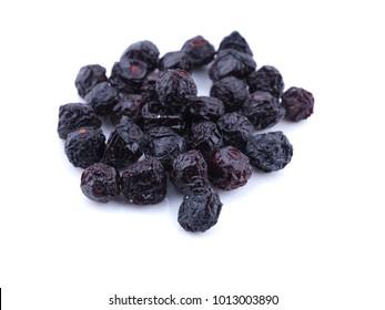 dry cherry berries on white background