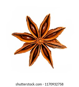 dry chinese star anise isolated on white