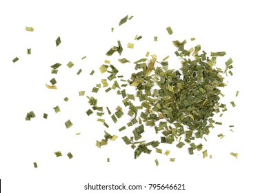 Dry chives pile isolated on white background, top view