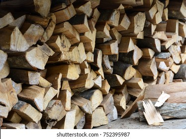 A lot of dry chopped firewood is stacked in the period of preparation for the furnace
