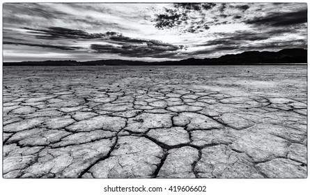 The dry, cracked desert floor of Nevada