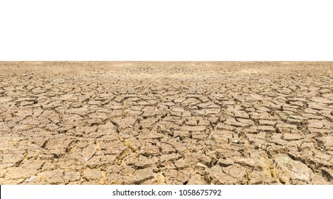 Dry cracked land isolated on white background. Global warming concept
