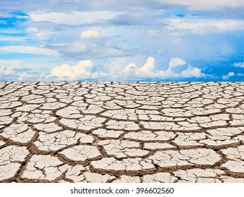 Dry cracked soil dirt during drought with blue sky for design.