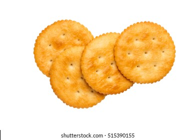 Dry cracker cookies isolated on white background cutout, top view, concept of food