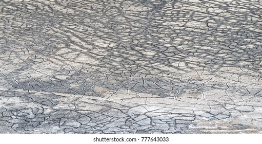 Dry cracks on the big salt lake tuz golu in Anatolia, Turkey in summer