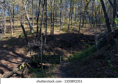 dry creek bed and bridge ravine along wooded trail in wyalusing state park wisconsin