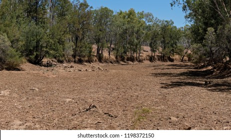 Dry creek bed in outback Australia devastated by drought