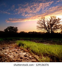 Dry creek bed in remote area of Oklahoma.
