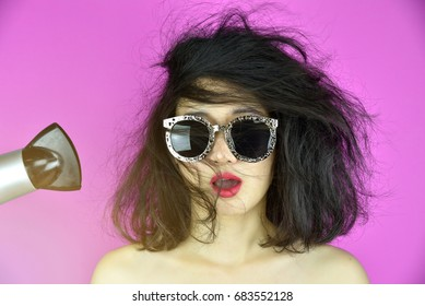 Dry and damaged hair, Hair loss problems cause by heat hair styling tools (hair dryer), Funny girl and bad day. (Selective Focus)