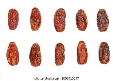 dry dates isolated on white background. Top view. Flat lay pattern. Set or collection