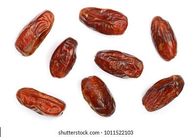 dry dates isolated on white background. Top view. Flat lay pattern