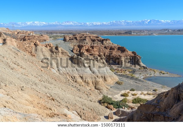 Dry desert badlands at the Lago Cuesta del Viento reservoir in San Juan, Argentina