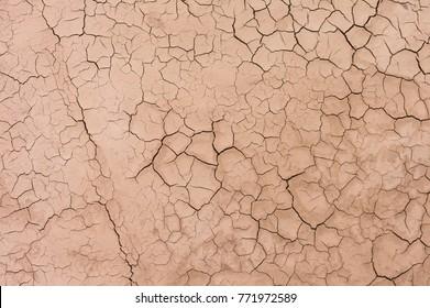 Dry desert soil ground sand cracked texture pattern