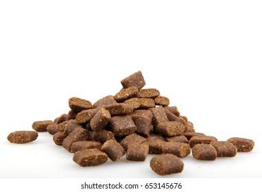 Dry dog food isolated on white background
