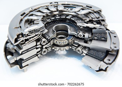 Dry double clutch system in section on white