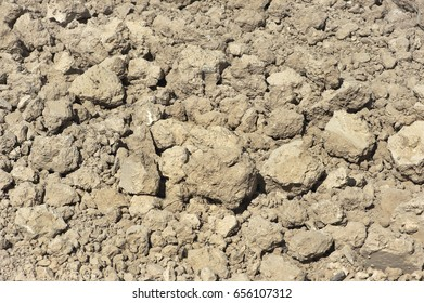 dry dumped soil with selective focus, close-up