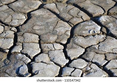 dry; earth; ground; soil; drought; crack; cleft; fissure; clay; desert; grey; salt; mud; peloid