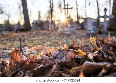 Dry fallen leaves are gathered in a pile in the cemetery, against the background of tombstones and crosses in the sun, in the autumn evening.