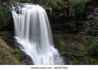 Dry Falls waterfall flows after a heavy rain in North Carolina