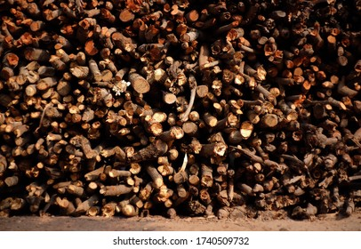 Dry firewood for fire and warming in the cold season.