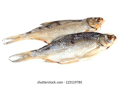 Dry fish on a white  background