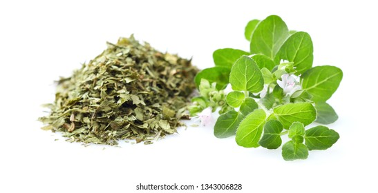 Dry and fresh oregano with flowers