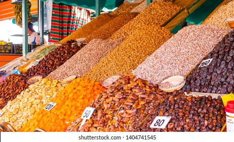Dry fruits arabian market in muslim ramadan style. Healthy vegetarian food. Muslim religion. Marocco marrakech