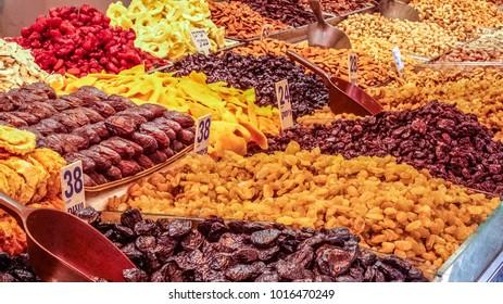 Dry fruits grocery, Mahane Yehuda Market, Jerusalem, Israel