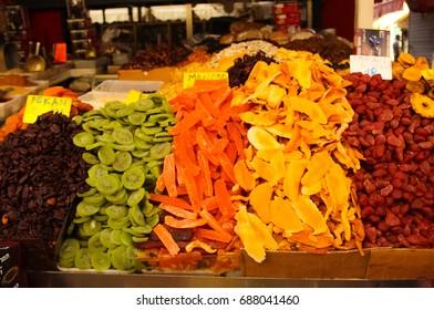 Dry fruits on the market, Shuk Carmel (Market Carmel), Tel Aviv, Israel