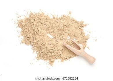Dry ginger powder isolated on white background