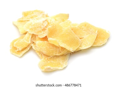 Dry ginger with sugar coated and fresh ginger on white background