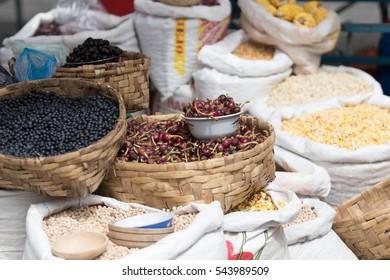 dry goods in the produce market of Otavalo Ecuador