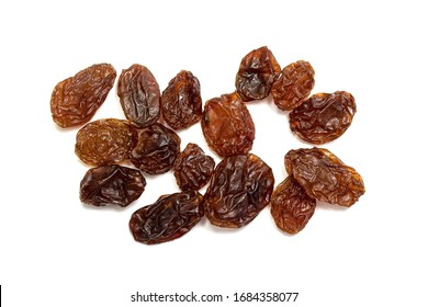 Dry grapes, raisins on a white background.