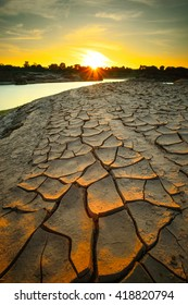 Dry ground on global warming.Dry soil texture on the ground.Global Warming