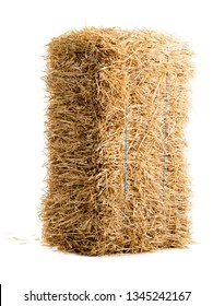 dry haystack isolated on white background