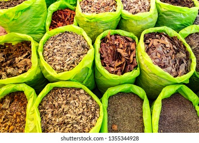 Dry herb in Peruvian Street Market at Nazca in Peru