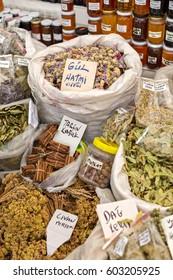 Dry Herbs In Street Market.  Alacati Cesme -Izmir,Turkey 27-06-2015