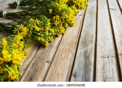 Dry herbs for use in alternative medicine, phytotherapy, herbal cosmetics. Bunches of dried flowers Hypericum. St. Johns wort. Herbal medicine. Medicinal herbs are dried. Tutsan